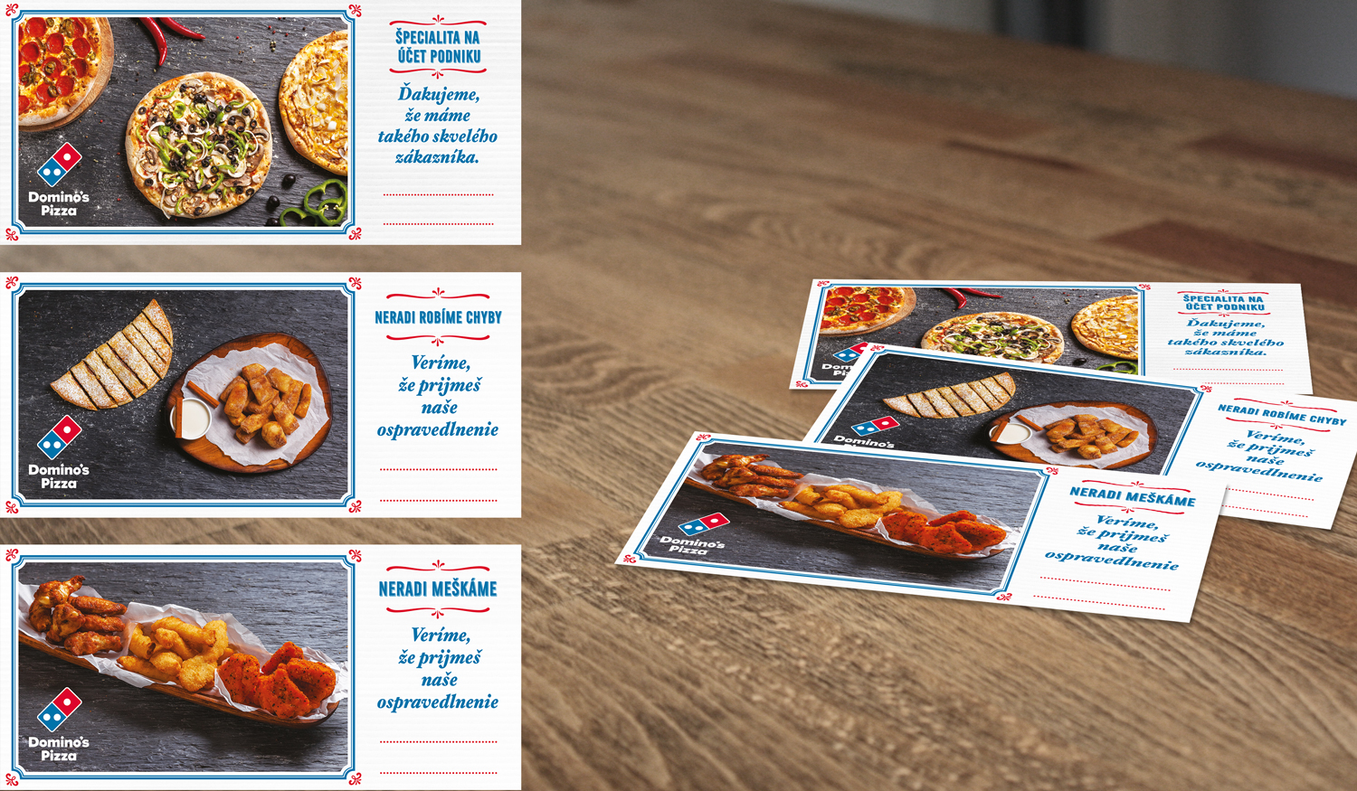 Domino's Pizza Sorry and Late cards