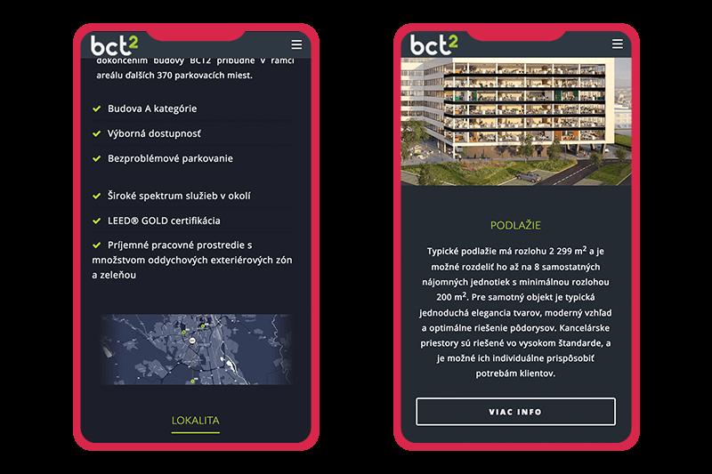 Projekt BCT2 - webstránka - zobrazenie na mobile